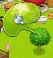 星の島のにゃんこ リンゴの木に水やり
